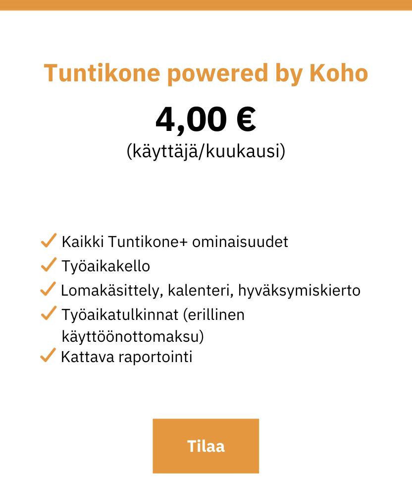 Tuntikone powered by Koho työajanseurantajärjestelmä